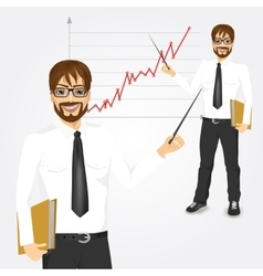 Young hipster businessman presenting vector