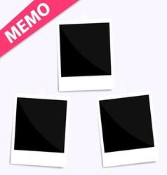 3 memo polaroid photo on wall vector image