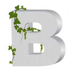 3d b letter with ivy vector image
