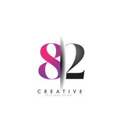 82 8 2 grey and pink number logo with creative vector image