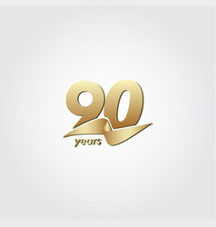 90 years anniversary celebration gold ribbon vector