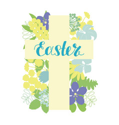 A cross with flowers and hand written easter vector