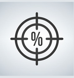 a crosshair icon with a discount precentage sign vector image