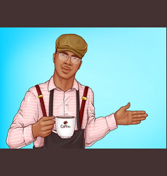 African-american barista with coffee cup vector