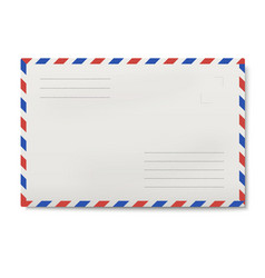air mail white envelope isolated vector image
