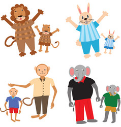 Animal parents with kids vector