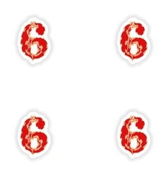 Assembly stickers fiery font red number 6 on white vector