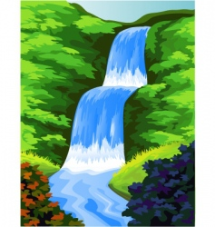 Beautiful waterfall vector