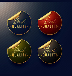 Best quality golden stickers with page curl vector
