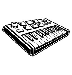 black and white of midi keyboard vector image