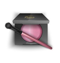 Blusher pink color in plastic case black vector