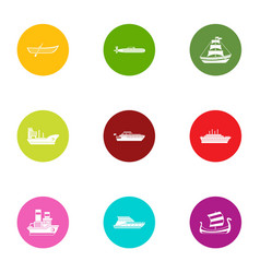 Boat way icons set flat style vector