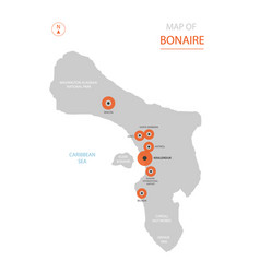 bonaire map with administrative divisions vector image