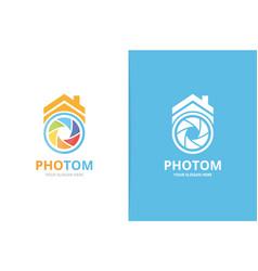 Camera shutter and real estate logo vector