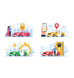 Carsharing service cars rental and exchange vector