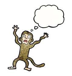 Cartoon frightened monkey with thought bubble vector