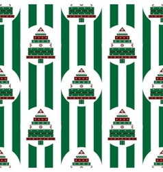 Christmas tree gifts green strips seamless pattern vector image
