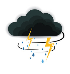 Cloud rain with storm rain on white background vector
