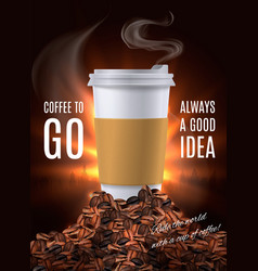 Coffee to go advertisement composition vector