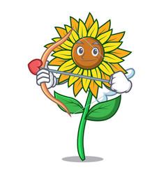 cupid sunflower character cartoon style vector image