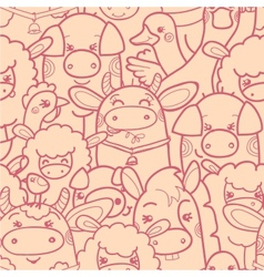 Cute farm animals seamless pattern background vector