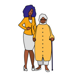 cute grandmother with daughter black characters vector image