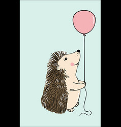 Cute hedgehog sitting with pink balloon vector