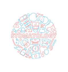 dental icons set circle shape with stomatology vector image