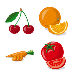 design of vegetable and fruit logo set of vector image