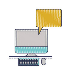 Desktop computer with bubble dialogue in colored vector