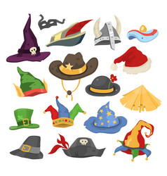 Different funny holiday carnival hats for party vector