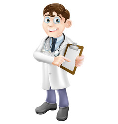 doctor holding clipboard cartoon vector image