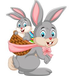 Easter bunny carrying basket of baby rabbit vector