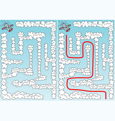 easy airplane maze vector image
