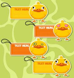Four cute cartoon Ducks stickers vector image