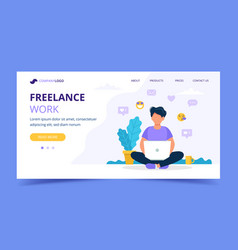 freelance work landing page template man working vector image