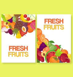 fruit fresh for farm market set banners vector image