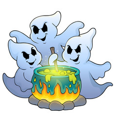 Ghosts stirring potion theme image 1 vector