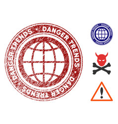 Global danger trends watermark with dust surface vector