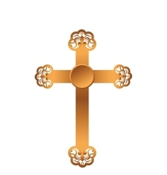 golden cross isolated icon vector image