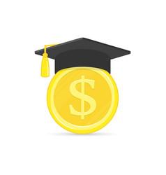 Graduation cap with coin vector