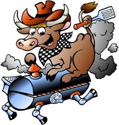 Hand-drawn an cow riding a bbq barrel vector