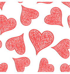 hand drawn heart icon seamless pattern background vector image