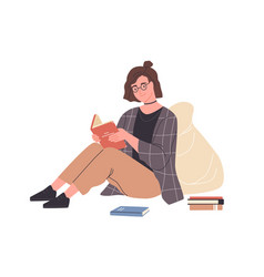 Happy modern young woman reading book sitting vector