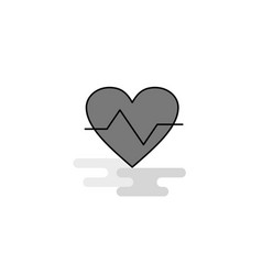 heart beat web icon flat line filled gray icon vector image