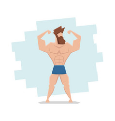 Hipster with a beard and athletic body strongman vector
