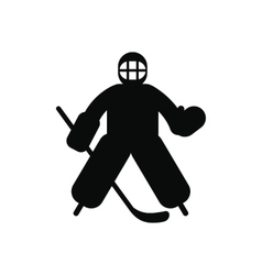 Hockey goalkeeper black simple icon vector image
