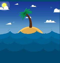 island in oceanpalm treeocean weaves vector image
