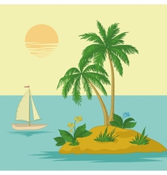 Island with palm and ship vector