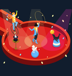 Isometric circus performance rehearsal template vector